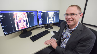 Path West forensic pathologist Dr Daniel Moss looks at some of the imaging captured by the new CT scanner.