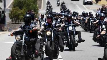 Bikies ride from the funeral home in North Perth to Pinnaroo Valley Memorial Park.