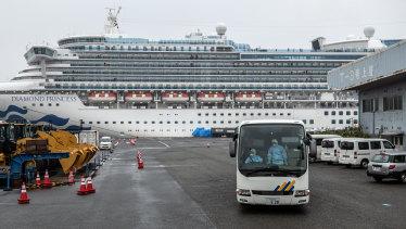The Diamond Princess cruise ship docked at Daikoku Pier in Yokohama, Japan.