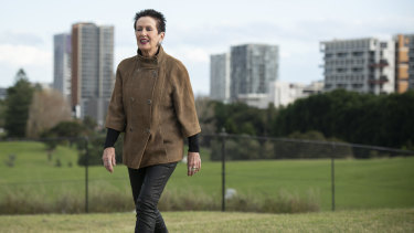 Sydney lord mayor Clover Moore this week at Moore Park Golf Course Driving Range, with high-rise development for a growing population in the background.
