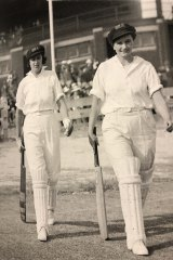 Pioneers: Lola and Irene Edwards open WA's batting against England in 1923.