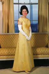 "Lady Bird Johnson chose ""optimistic"" yellow for the first inaugural ball after the assassination of President John F. Kennedy."