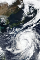 Typhoon Hagibis approaching the south-east coast of Japan on October 9.
