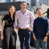 Tinybeans founders Sarah-Jane Kurtini, Eddie Geller and Stephen O'Young (L-R) at their New York headquarters.