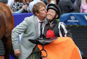 Mick Bell with Jade Darose after the win of Jungle Edge in the John Monash Stakes.