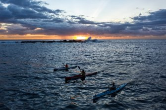 An early morning training session off the coast at Coogee.