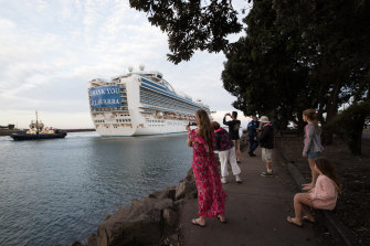 The Ruby Princess cruise ship, which was the source of hundreds of Australia's  coronavirus cases, leaves Port Kembla last month.