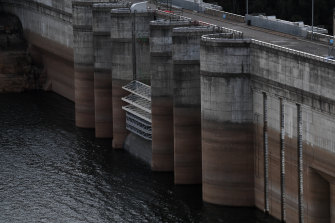 Warragamba Dam's water levels had dropped to about 43 per cent before huge rains in February.