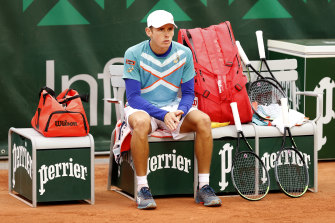 Alex de Minaur after crashing out of French Open earlier this year.