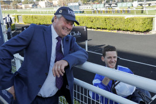 Trainer Gordon Richards and  Jason Collett  after winning the Concorde Stakes with Gytrash.