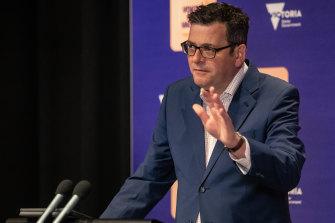 Victorian Premier Daniel Andrews provides a coronavirus update on Monday.