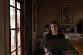 Sydney University student Eliza Rubin has been studying from home in Alexandria this year.