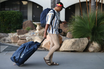 Melbourne winger Josh Addo-Carr, one of four players sanctioned last week, arrives in Albury with the Storm squad on Tuesday evening.