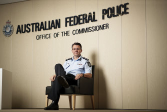 AFP Commissioner Reece Kershaw at the Australian Federal Police headquarters in Canberra