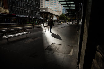 The streets of the CBD were cold, soggy and empty at the weekend.