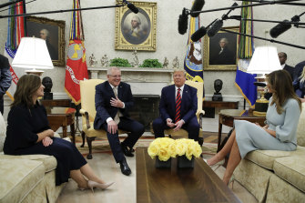 Jenny Morrison and Prime Minister Scott Morrison meet with US President Donald Trump and Melania Trump.