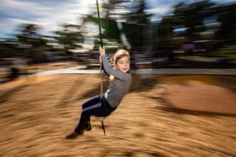 Nothing but fun: Ava Ansalone, 6, on the flying fox at Thomas Street playground in Hampton.