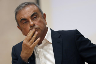 Ex-Nissan chairman Carlos Ghosn holds a press conference in Kaslik, Lebanon, in September.