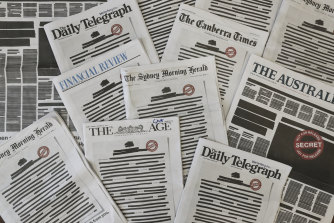 The front pages of Australian newspapers for the Your Right to Know campaign. News Corp worked effectively with the MEAA on the campaign.
