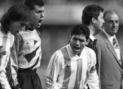 Maradona at the start of a World Cup qualifying match against Australia at the Sydney Football Stadium in 1993. The final score was 1-1.
