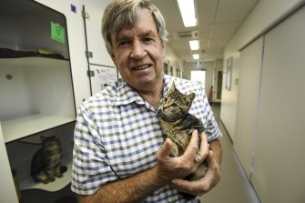 Cat Protection Society of Victoria CEO Ian Crook with kitten Hewy.