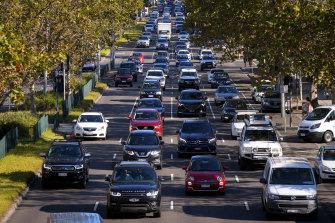 Peak-hour traffic on Punt Road.