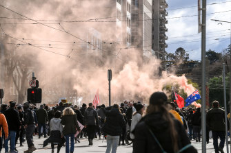 Large crowds of protesters took to Melbourne's streets voicing anger about vaccinations and the latest lockdown.