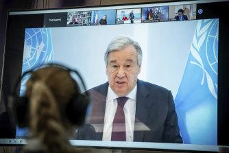 Antonio Guterres, UN Secretary-General, delivers his speech remotely to the Petersberg Climate Dialogue.