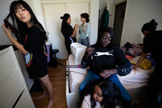 A group of six Blacktown High girls got ready together at Angela Mediana's house. Angela helped out with everyone's makeup, and then her dad drove them in a seven-seater from Blacktown to King Street Wharf.