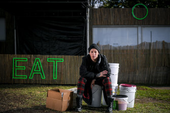 Shannon Martinez, of Smith & Daughters, is pictured at Sidney Myer Music Bowl with stock that will no longer be eaten by Rising festival-goers over the next seven days.