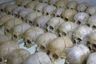 The skulls of genocide victims form a memorial in a church vault in Nyamata. Rwanda will this year be under lockdown for the anniversary of the genocide.