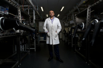 Professor Aguey-Zinsou at the laboratory on the UNSW campus, where his hydrogen storage components are tested.