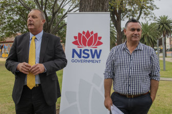 Upper Hunter MP Michael Johnsen (left) seen with Deputy Premier and leader of the Nationals John Barilaro, has taken leave from NSW Parliament.