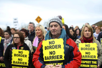 Protesters staged a rally in Carrickarnon in March to oppose checks at the border, which has been open since the Good Friday Agreement was signed in 1998.