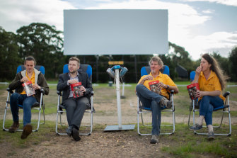 Dromana Drive-In is hoping to host a grand final event for 450 cars. The family business is run by (from left) Josh Whitaker, Chris Brayne, Paul Whitaker and Shelley Whitaker.