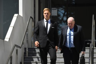 Jack de Belin leaves Wollongong Court on Monday.