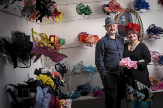 Hat-makers with heart ... Cupid's Millinery owners Rudolf Ladyzhenskii and Marina Vexler.