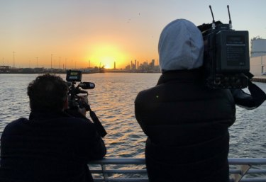 Better than sitting in traffic: A passenger's view of Melbourne CBD from the Port Phillip Ferries' 6.15am voyage from Geelong to Docklands.