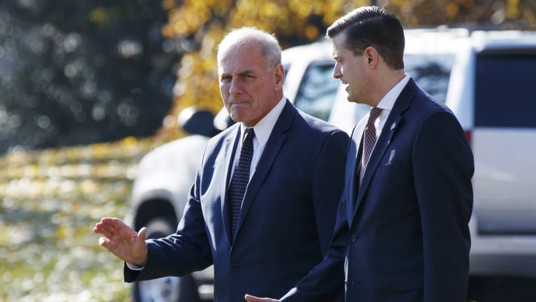 White House chief of staff John Kelly, left, has offered to quit following the departure of staff secretary Rob Porter, right.