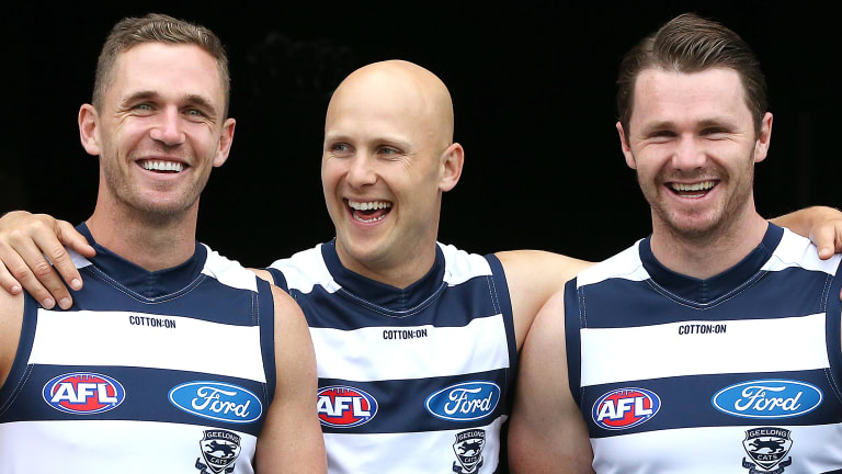 Gary Ablett with Joel Selwood and Patrick Dangerfield.