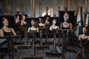 Abandoned portraits painted by students in the Victorian Artists Society studio.