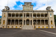 Iolani Palace in downtown Honolulu when it closed to visitors for routine maintenance.
