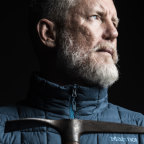 Geoff Wilson, holding Sir Douglas Mawson's axe at the Australian Museum,  is about to attempt the longest journey, attempting to cross 5800 kms in Antarctica by himself. He will try to harness the wind to pull his sled, and walk or ski.