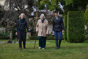 Head gardener Anna Thompson and Myer family members Lady Marigold Southey and Lindy Shelmerdine in the Cranlana garden.