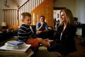 Childcare users Donna O'Neill and her husband Rory O'Neill with their son Conor, 3, at their home in Balmain.