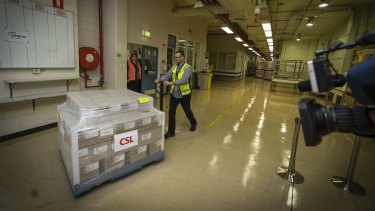 The first AstraZeneca doses left the CSL-Seqirus facility on Wednesday morning.