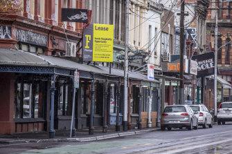 Death in Brunswick: closed shops in the moribund Fitzroy street.