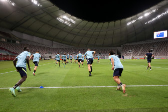 Australia players attend a training session ahead of the FIFA 2022 World Cup Qualifier in Khalifa International Stadium.