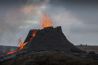 Lava flows from the volcano on the Reykjanes Peninsula.