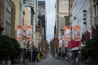 A normally busy Bourke Street Mall in Melbourne during this latest lockdown.